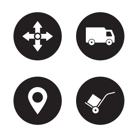 storehouse: Delivery service black icons set. Logistic and storehouse items. Transportation van and GPS pin mark symbols. White silhouettes illustrations isolated on black circles. Vector infographics elements