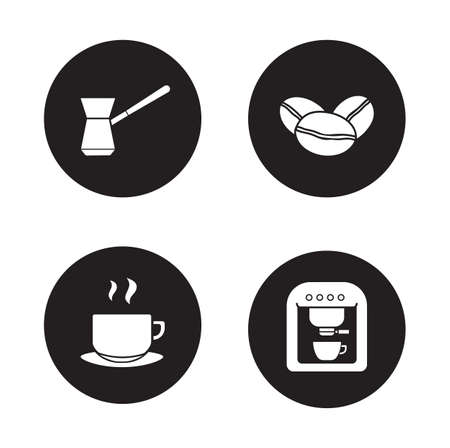 black appliances: Coffee appliances black icons set. Turkish cezve and roasted coffee beans. Espresso machine and steaming cup symbols. White silhouettes illustrations isolated on circles. Vector infographics elements