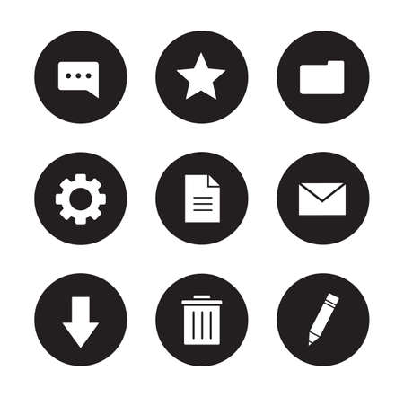 gear symbol: Digital icons set. User interface black round buttons. White silhouettes illustrations. Trash can and settings gear symbol. Download arrow and file folder pictograms. Vector infographics elements