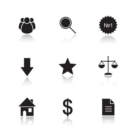 web cast: Marketing tools drop shadow icon set. Commercial and business cast shadow silhouettes illustrations isolated on white. Webpage interface items. House and document symbols. Vector infographics elements