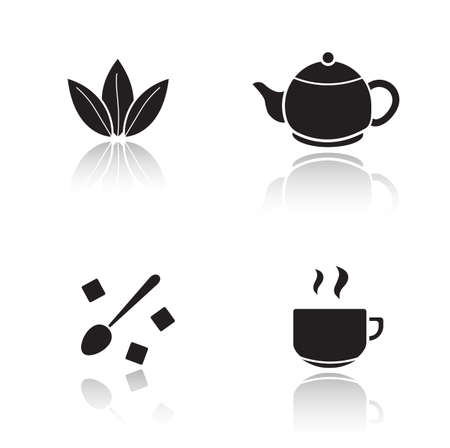 sugar spoon: Tea accessories drop shadow icons set. Tea leaves and teapot cast shadow silhouettes illustrations isolated on white. Steaming teacup and spoon with sugar cubes. Vector infographics elements
