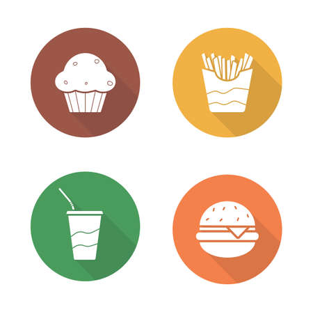 Fast food flat design icons set. Hamburger and french fries long shadow symbols. Soda drink with straw and muffin white silhouette illustrations. Unhealthy eating vector infographics elements