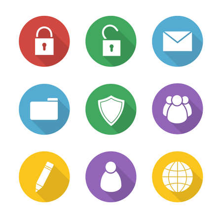 interface buttons: File manager flat design icons set. Data storage interface buttons. Server ui round long shadow symbols. Lock and unlock white silhouette illustrations on color circles. Vector infographics elements