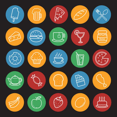 confection: Food and drinks linear icons set. Breakfast and dinner line art illustrations on color circles. Confectionery and bakery restaurant menu items. Pizza slice and sweet cake. Vector infographics elements
