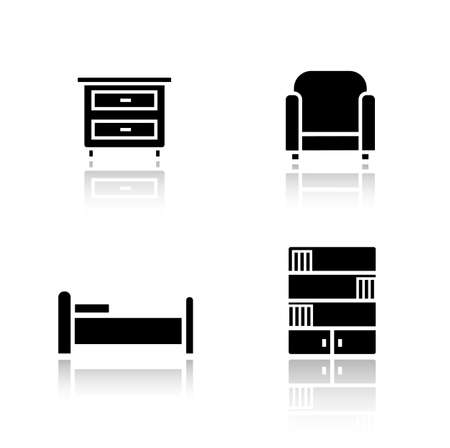 furnishing: Bedroom furniture drop shadow icons set. House indoor furnishing items. Nightstand and bed. Black cast shadow silhouettes illustrations isolated on white. Vector interior infographics elements