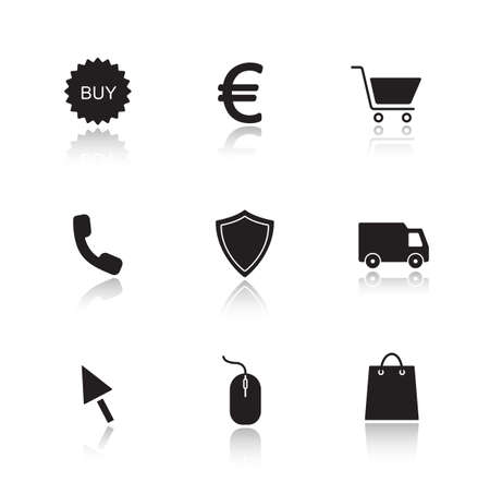 web cast: Online marketing drop shadow icons set. E-commerce and web store black user interface buttons.  Supermarket cast shadow silhouettes illustrations isolated on white. Vector infographics elements