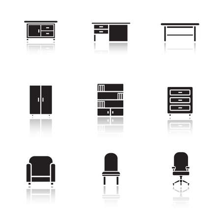 home office interior: Furniture black icons set. Home interior decoration silhouette items. Living room armchair and work table. Office chair and bedside table cast shadow illustrations. Vector infographics elements Illustration