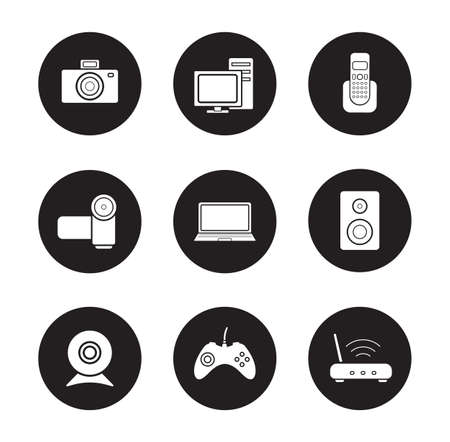 consumer electronics: Consumer electronics black icons set. Desktop digital devices white silhouettes illustrations. Pc with monitor and laptop round symbols. Video and photo cameras.  Vector infographics elements