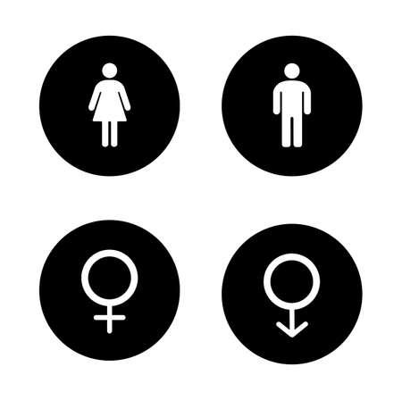 Iconos negros de entrada wc. redondo símbolo de género. muestras de la puerta aseo masculinos y femeninos. El hombre y el cuerpo de la mujer. siluetas blancas ilustraciones. Chica y chico pictograma. aislado vector de infografía elementos