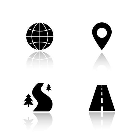 geolocation: Gps map navigation drop shadow icons set. Highway, off road, global navigation system, pinpoint mark. Mapping and tracking app interface items. Cast shadow logo concepts. Vector black illustrations