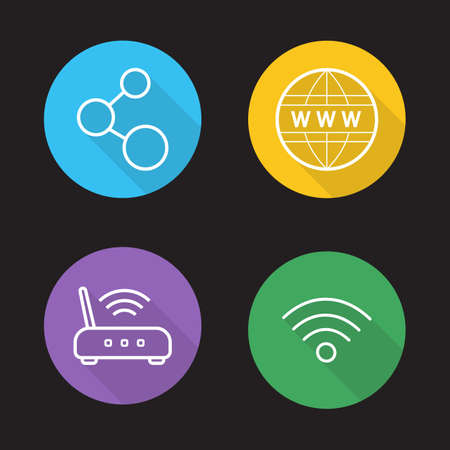 wireless communication: Wifi flat linear icons set. Wireless internet communication. Data transfer, wi-fi signal, global network connection. Long shadow outline logo concepts. Line art vector illustrations on color circles