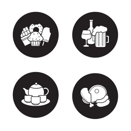 raw meat: Grocery store products black icons set. Confectionery, alcohol beverages, Chinese tea ceremony set, teapot with teacups, raw meat. Food and drinks white silhouettes illustrations. Vector logo concepts
