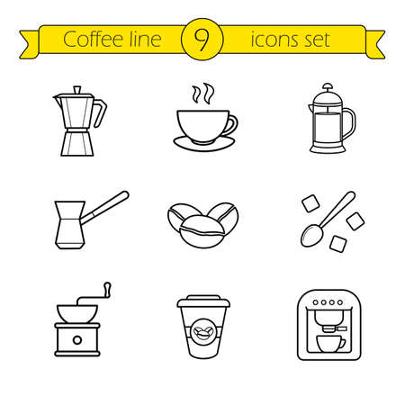 line drawings: Coffee linear icons set. French press and Italian stove top coffee maker thin line drawings. Takeaway paper cup and coffee mill. Espresso machine and roasted coffee beans outline illustrations.