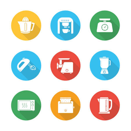 white goods: Kitchen electronics flat design icons set. White goods long shadow round symbols. Cooking equipment white silhouette illustrations on color circles. Microwave and mixer vector kitchenware appliances Illustration