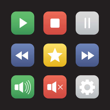 favorite colour: Multimedia flat design icons set. Audio and video control elements. Mp3 music player graphic interface items. Rewind, pause, stop and play buttons. Settings pictogram and rating star symbol. Vector