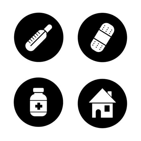 band aid: Medicine chest items black icons set. Thermometer, band aid, medication pills bottle, home symbol. First aid, sickness treatmeant and healthcare white silhouettes illustrations. Vector logo concepts