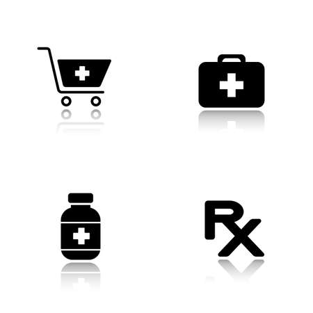 Pharmacy website drop shadow icons set. Drugstore shopping cart symbol with cross, medical chest, medicine pills box, prescription rx sign. Cast shadow logo concepts. Vector black illustrations