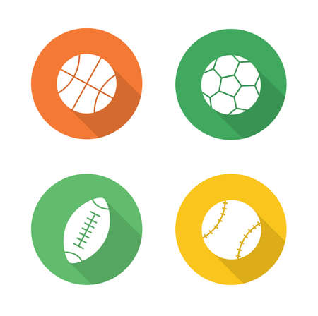 long play: Sport balls flat design icons set. Basketball, soccer, baseball, american football or rugby long shadow logo concepts. Active, team play games pictograms. White silhouette illustrations. Vector Illustration