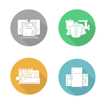 consumer electronics: Consumer electronics flat design icons set. Air conditioning equipment, household appliances, kitchenware electric items,and sound system. Long shadow logo concepts. Vector silhouette illustrations