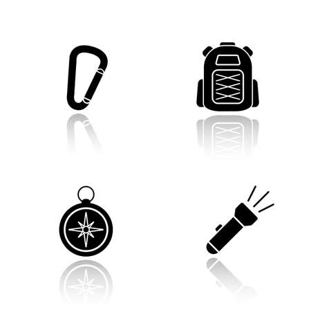 mountaineering: Hiking gear drop shadow icons set. Mountaineering and rock climbing equipment, carabiner lock, tourist backpack, compass, flashlight. Cast shadow logo concepts. Vector black silhouette illustrations