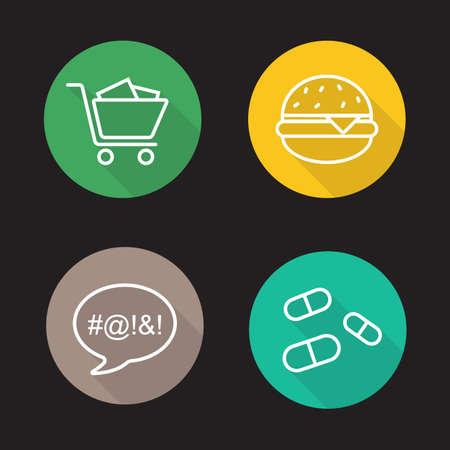 bad color: Bad habits flat linear icons set. Shopping cart, fast food burger, vulgar language, drugs pills. Long shadow outline logo concepts. Line art illustrations on color circles. Vector Illustration