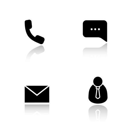 call center office: Customer support drop shadow icons set. Handset telephone, live chat bubble, email message, client manager. Call center office. Cast shadow logo concepts. Vector black silhouette illustrations Illustration