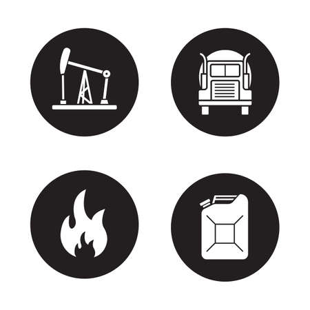 flammable: Fuel and gasoline production black icons set. Oil derrick, gas truck, flammable danger sign, petrol jerrycan. Petroleum industry black and white silhouettes illustrations. Vector logo concepts