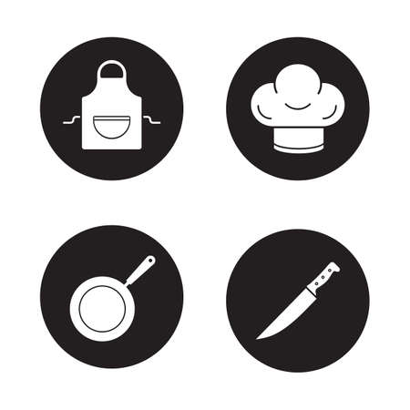 domestic kitchen: Cooking equipment black icons set. Domestic kitchen apron, restaurant chefs hat, professional chopping knife, frying pan. Kitchenware items. White silhouettes illustrations. Vector logo concepts Illustration