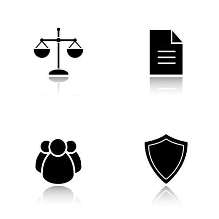 jurisprudence: Lawyer drop shadow icons set. Jurisprudence and law, scale of justice and court jury, protection shield and case document black symbols. Cast shadow logo concepts. Vector silhouette illustrations Illustration
