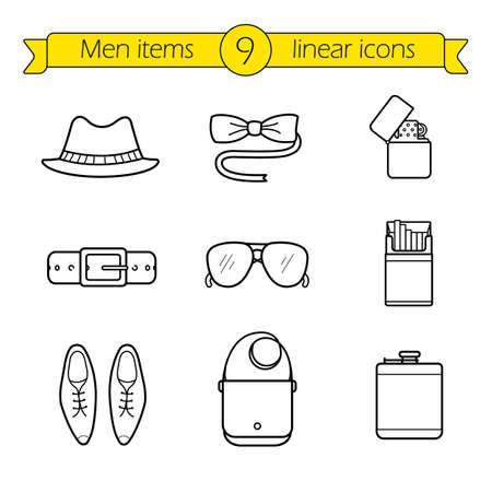 line drawings: Men accessories linear icons set. Hipster tuxedo butterfly tie and sunglasses thin line illustrations. Homburg hat, leather belt, male shoes and handbag contour symbols. Vector outline drawings