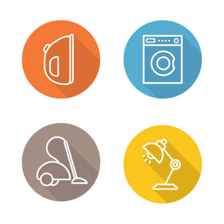 electric iron: White goods flat linear icons set. Electric iron, washing machine, vacuum cleaner, table lamp. Household appliances. Long shadow outline logo concepts. Line art illustrations on color circles. Vector