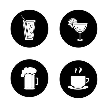 ice tea: Drinks black icons set. Soda glass with straw and ice, margarita cocktail with line, beer mug and steaming tea cup. Cafe and restaurant bar menu items. Hot and cold beverages. Logo concepts. Vector