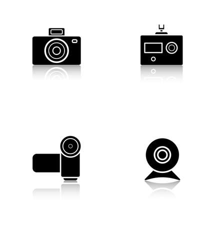 digital slr: Digital cameras drop shadow icons set. Slr vintage photocam and webcam symbols. Modern action and video camera pictograms. Cast shadow logo concepts. Vector black silhouette illustrations Illustration