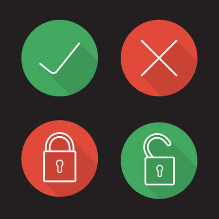 File access flat linear icons set. Accept and refuse symbols. Lock, unlock, approve, decline signs. Correct and incorrect long shadow outline pictograms. Vector line art illustrations on color circles Ilustração Vetorial