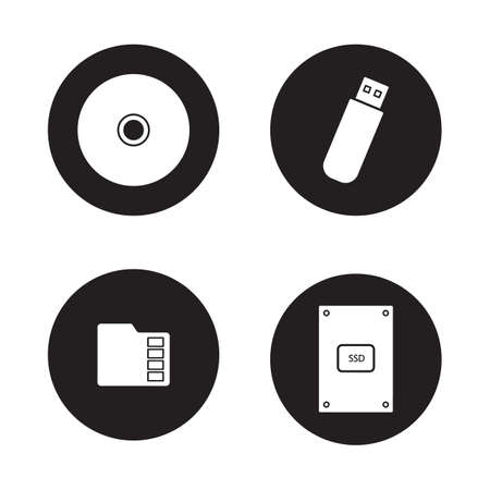 harddrive: Data storage devices black icons set. External ssd hard drive, portable usb stick, micro sd mobile memory card, compact disc. Digital gadgets. White silhouettes illustrations. Vector logo concepts Illustration