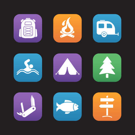 advisor: Tourism and camping flat design icons set. Tourist advisor app, hiking and tracking equipment, outdoor wild nature recreation items. Web application graphic interface, rounded square buttons. Vector
