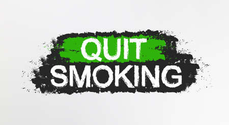 bad habit: Quit smoking graffiti sign. Smoker healthcare motivational grunge print. Paint brush strokes text poster. Prohibition banner. Healthy lifestyle motivation. Bad habit quitting scratch stamp. Vector