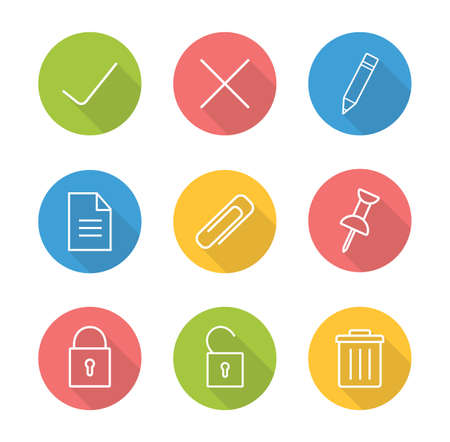 decline: File manager linear icon set. Approve and decline round long shadow outline symbol. Multimedia application interface buttons. Security lock and unlock white line illustrations on color circles. Vector