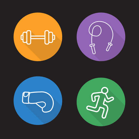 weightlifting gloves: Sport flat linear icons set. Gym dumbbell, skipping rope, boxing glove, running man. Long shadow outline logo concepts. Bodybuilding and powerlifting line art illustrations on color circles. Vector