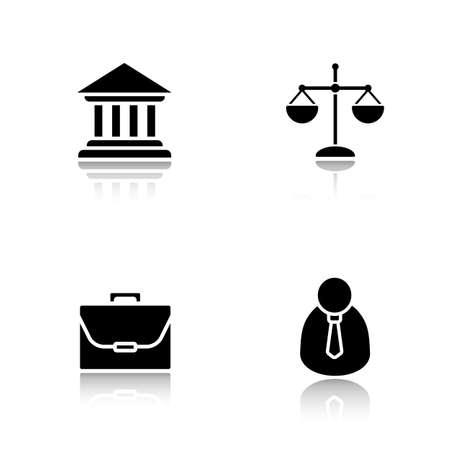 jurisprudencia: Ley gota sombra iconos establecidos. Corte y balanza de la justicia, la jurisprudencia y el sistema de gobierno, abogado y símbolos negros maletín. Reparto de conceptos insignia de la sombra. ilustraciones silueta del vector