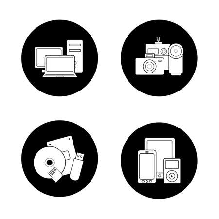 categories: Consumer electronics black icons set. Web store categories, modern digital accessories, data storage devices, portable multimedia gadgets. White silhouettes illustrations. Logo concepts. Vector