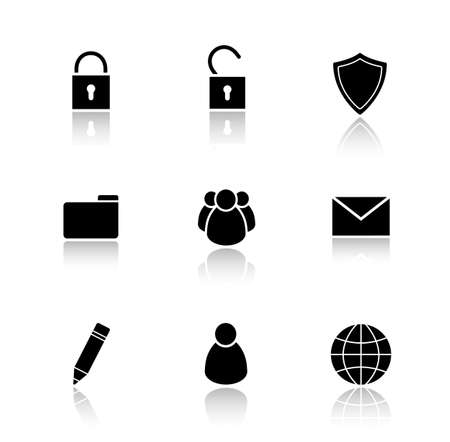 private data: File manager drop shadow icons set.  Data storage user interface buttons. Edit and folder icons. Server ui elements. Private and group user symbols. Vector silhouette illustrations and logo concepts Illustration