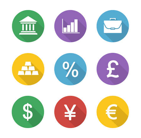 rates: Finance and banking flat design icons set. Trading and stock market long shadow circle symbols. Financial investment white silhouette illustrations. Deposit chart and exchange rates. Vector