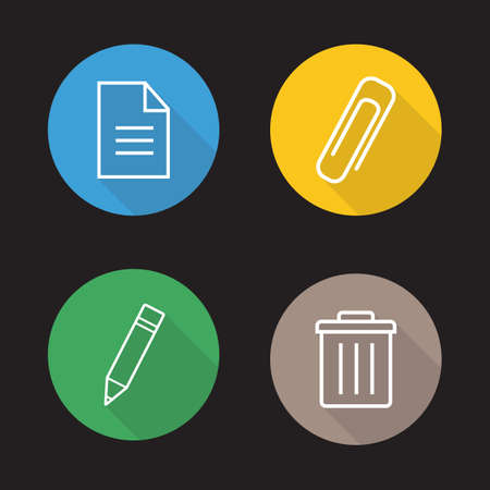 File editor flat linear icons set. New text document, attachment clip symbol, pencil edit button, trash bin. Long shadow outline logo concepts. App interface elements. Vector line art illustrations.