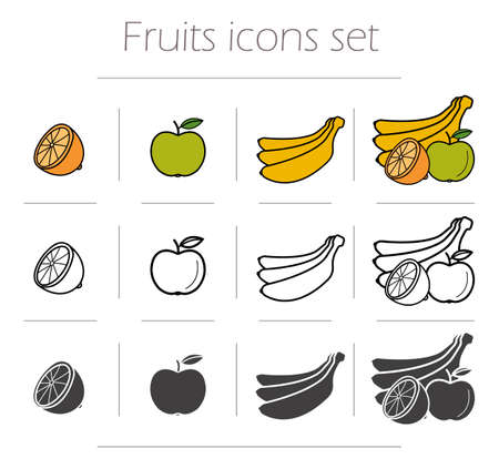 cuted: Fruits icons set. Green color apple with leaf. Banana black silhouette illustration. Half orange linear symbol. Fruits still life. Vector