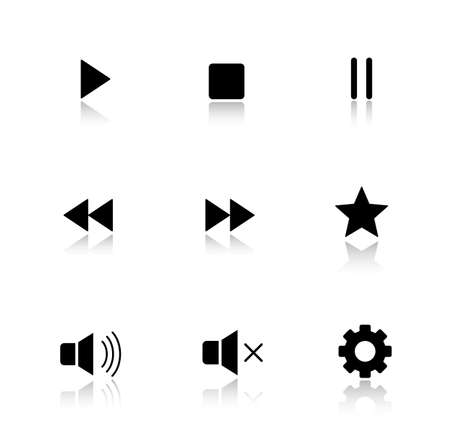 playback: Media player drop shadow buttons set. Multimedia app interface icons. Play, pause and stop glossy symbols. Forward and backward rewind, sound control. Cast shadow silhouette illustrations. Vector Illustration