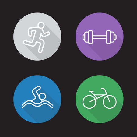 athletic activity: Sport flat linear icons set. Running man, gym workout symbol, swimmer and bicycle pictograms. Athletic activity. Long shadow outline logo concepts. Line art illustrations on color circles. Vector