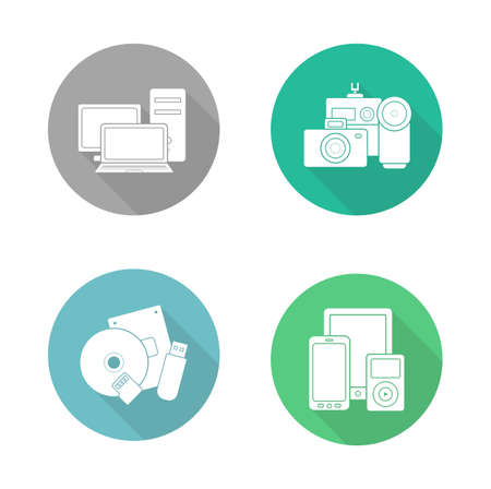 consumer electronics: Consumer electronics flat design icons set. Modern digital devices round long shadow symbols. Data storage and multimedia accessories white silhouette illustrations. Web store categories. Vector Illustration