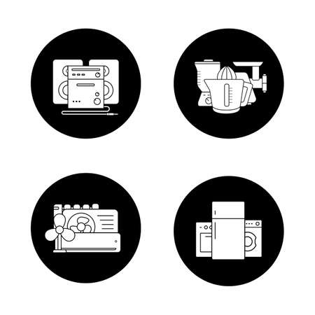 household goods: Household appliances black icons set. Consumer electronics, white goods, kitchenware items, sound system, air conditioning equipment. White silhouettes illustrations. Logo concepts. Vector