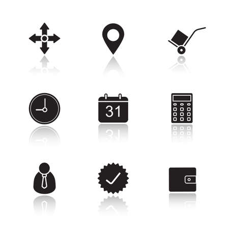 forwarding: Delivery service drop shadow icons set. Online freight forwarding graphic interface. Transportation and logistics. Package tracking. Cast shadow logo concepts. Vector black silhouette illustrations
